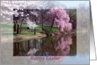 Happy Easter Spring Tree Blossoms Reflecting in Lake card