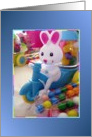 Easter Bunny Riding a Motorcycle with Candy card