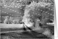 IThinking of You Across the Miles, nfrared Black and White Road Through Field card