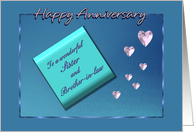 Anniversary to Sister and Brother-in-Law, Note with Hearts card