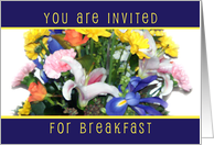 Floral Bouquet Invitation, Breakfast card
