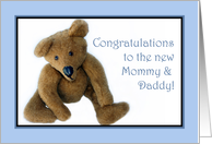 Teddy Bear, Congrats to the New Mommy and Daddy, Blue card