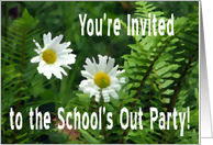 Flowers and Ferns, School's Out Party Invite card