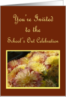Mums and Burgundy, School's Out Celebration Invitation card