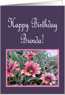Happy Birthday Brenda, Pink Floral card