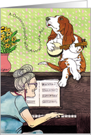 Howling Basset Hound : Happy Birthday Spanish card