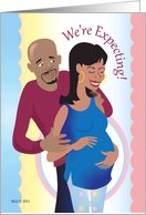 We're Expecting Announcement African American couple card