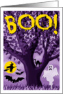 Spooky Full Moon and Tree Halloween landscape card