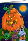 Trick or Treating mice with Jack-O-Lantern house card