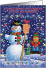 Snowman and boy card