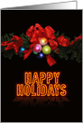 Modern Happy Holidays Card with Neon Text, Bow & Ornaments card