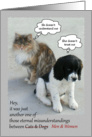 Misunderstandings of Cats & Dogs / Genders card