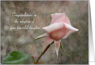 Congratulations adoption daughter - Pink Rose Bud card