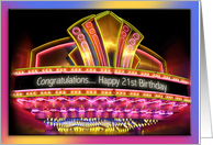 21st Birthday neon lights card