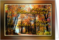 Happy Thanksgiving Mom & Dad - Country Road in Autumn Colors card