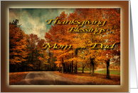 Country Drive in Autumn - Thanksgiving Blessings Mom and Dad card
