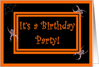 Halloween Birthday Party - Spiders card
