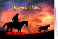 cowboy and sunset happy birthday from across the miles card