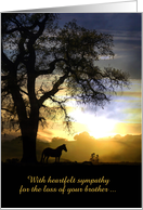 Loss of brother Horse and Oak Tree in the Sunset Sympathy Card