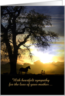 Loss of Mother Horse & Oak Tree in the Sunset Sympathy Card Customize card