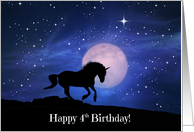 Unicorn Fantasy Happy 4th Birthday card