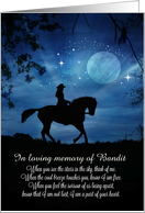 Horse and Rider Equine Sympathy Customize with Horse's Name card