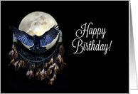 Native American Dream Catch Wolf and Moon Raven Spirit Birthday card