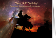 Rustic Country Western Cowboy Happy 34th Birthday Horse, Steer Roping card