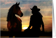Horse and Cowgirl Sympathy card