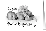 Surprise We're Expecting Pregnancy Announcement card