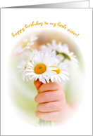 Happy Birthday Little Sister Child Holding Daisies card