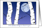 Night Birches Winter Solstice card