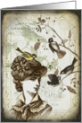Victorian Lady and Chickadees - Any Occasion card