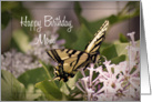 Happy Birthday Mom, butterfly on flower card