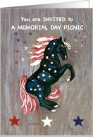 Stars and Stripes Horse Memorial Day Picnic Invite card