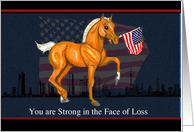 Sympathy Loss of Military Dad Horse Foal with Flag card