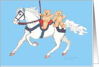 twin teddy bears on carousel horse card