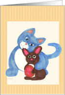 Cat with Chocolate Easter Bunny card