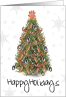 Happy Holidays Sausage Christmas Tree card