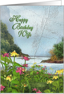 Happy Birthday Wife scenic flower garden card