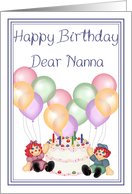 Rag dolls happy birthday Dear Nanna cake balloons and candles card