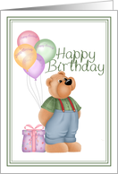 teddy bear balloon and present happy birthday card