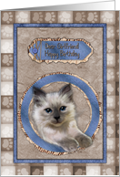 Dear Girlfriend Happy Birthday beautiful cat scrap card