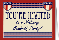 Military Send-off Party Invitations, Army Navy, Marine or Air Forces Service Soldier card