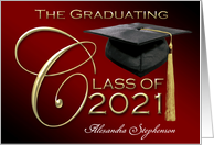 The Graduating Class of 2013 Elegant Black, Red and Glossy Gold card