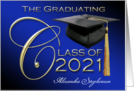 The Graduating Class of 2013 Elegant Black, Blue and Glossy Gold card