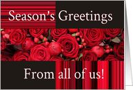 Season's Greetings from all of us - Christmas roses and berries card