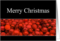 Merry Christmas red ornaments card