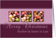 Brother & Sister in Law Merry Christmas, purple colored ornaments card
