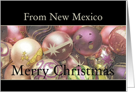 New Mexico - Merry Christmas Colored ornaments, black/pastel card